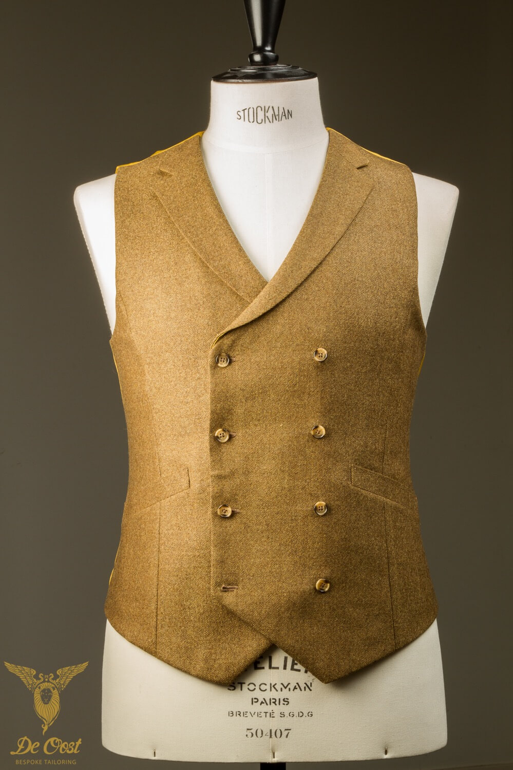 - Hand Made Bespoke Yellow Ochre Tweed Double Breasted Waistcoat With Notch Lapel