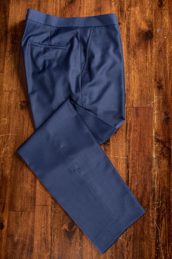 - Hand Tailored Plain Weave Blue Italian Work Business Trousers