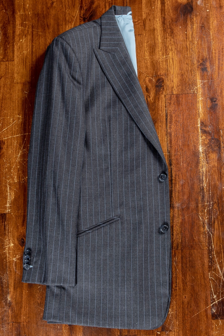 - Bespoke Suit For Work Charcoal Slate Blue Pin Stripe Intercity Holland & Sherry