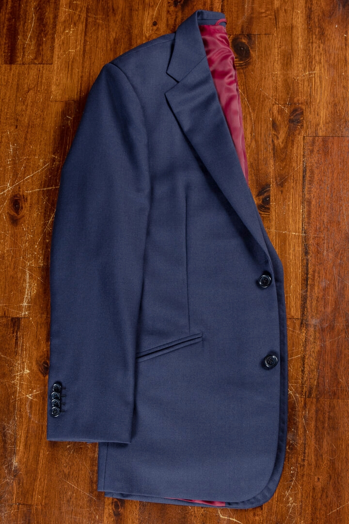 - Navy Solid Worsted Wool Classic Suit For Work