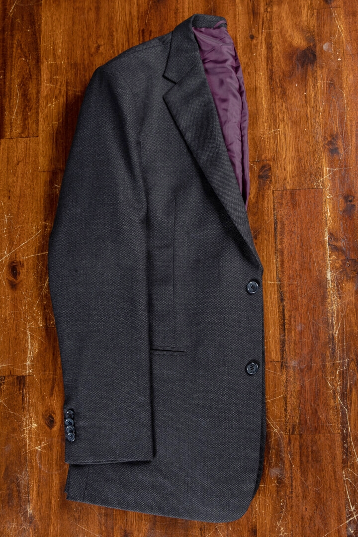 - Charcoal Birdseye Classic Suit For Work Business Crease Free