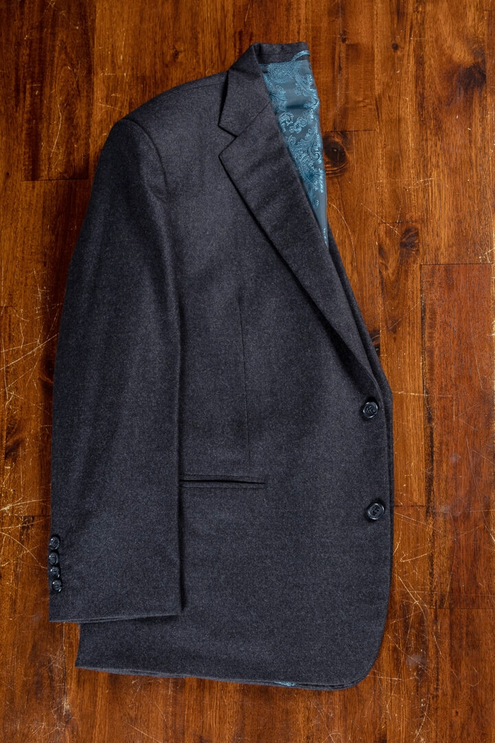 - Dark Grey Solid Flannel 3 Piece Suit Supreme Victory Holland & Sherry