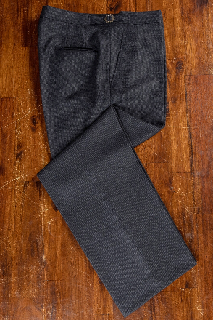 - Charcoal Birdseye Classic Trousers For Work Business Crease Free