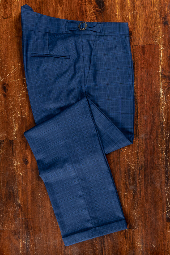 - Bright blue mock glen wool cashmere fishtail trousers with turnup