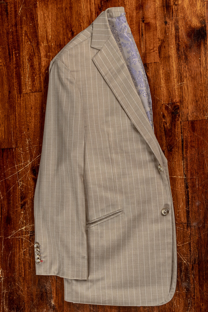 - Sand white pinstripe bespoke summer suit with extra trousers