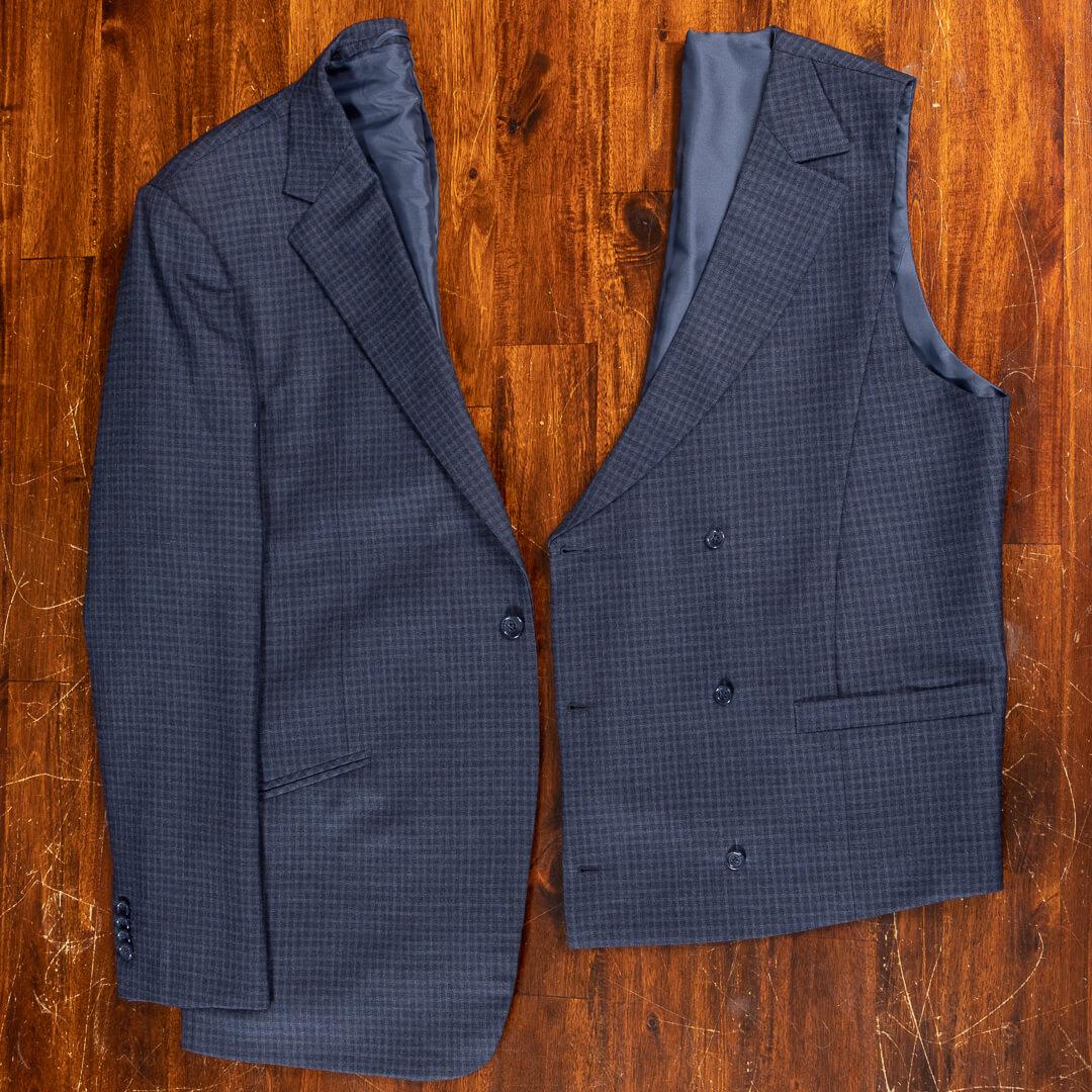- Bespoke traveling suit crease free navy shadow block plaid Dutch design