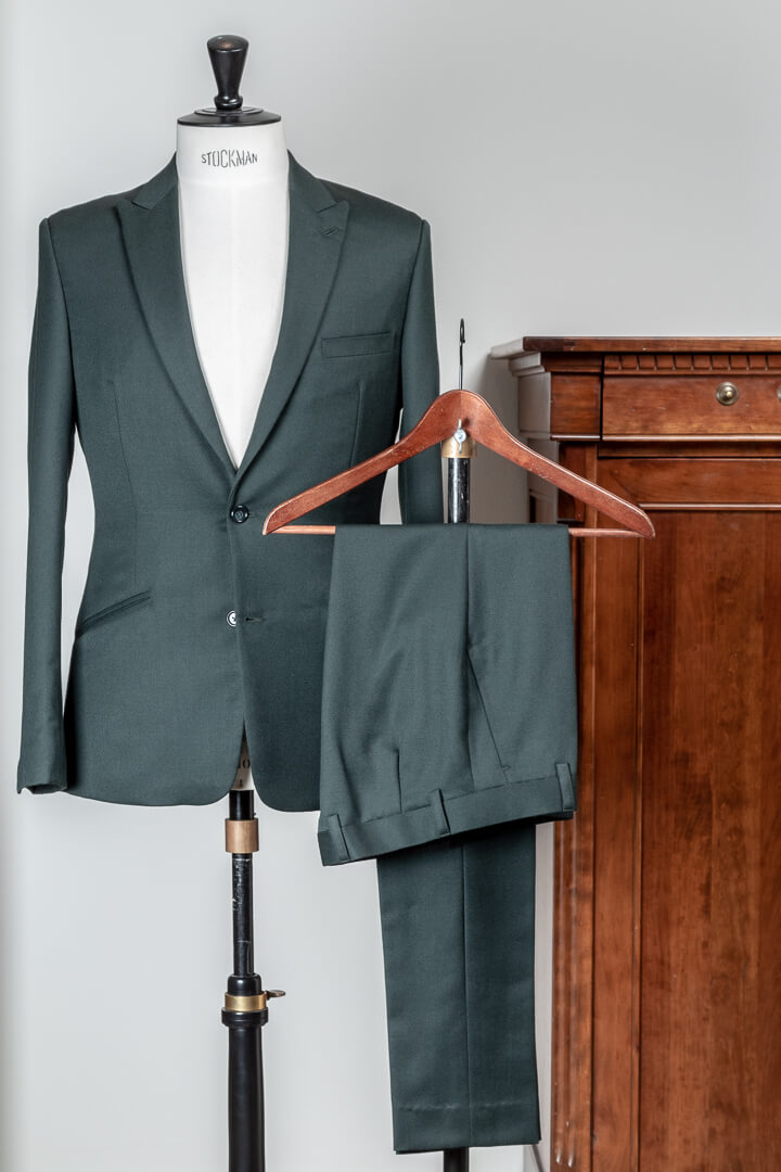 - Forest green barathea solid bespoke suit Dutch design made in Holland