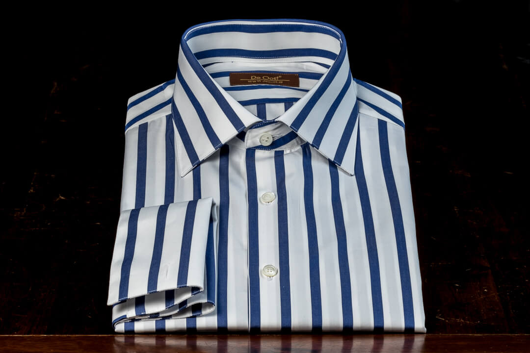 Overhemd Op Maat Heren Bespoke Poplin Wolf Of Wall Street Wit Marine Blauw Candy Stripe Dubbel Manchet 5.jpg