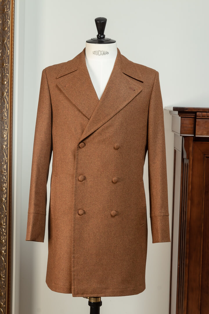 - Overcoat Double Breasted 6x2 Flannel Bright Tan Twill Huddersfield Fine Worsteds