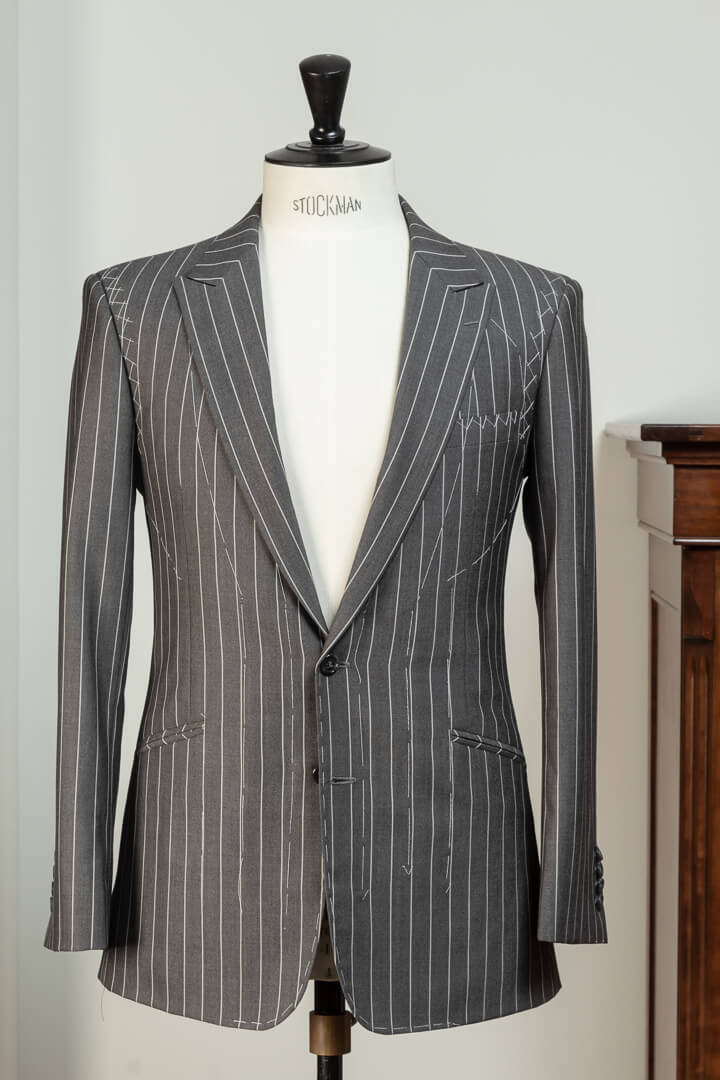 - Jacket Full Canvas Crease Free Travelling Crispaire light grey/light pearl chalk stripe 3/4 inch Holland & Sherry