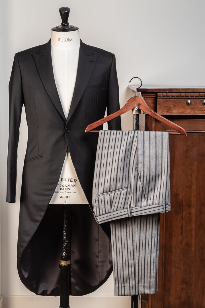 - Bespoke Morning Coat Classic Black Herringbone Grey Morning Stripe Trousers