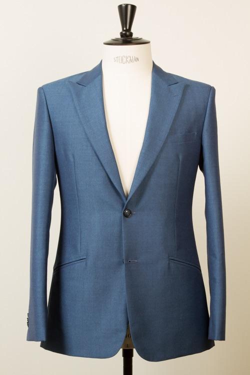 - Mohair Travel Suit Crease Free Blue Bespoke Suit 2-button Jacket Peak Lapel Holland & Sherry