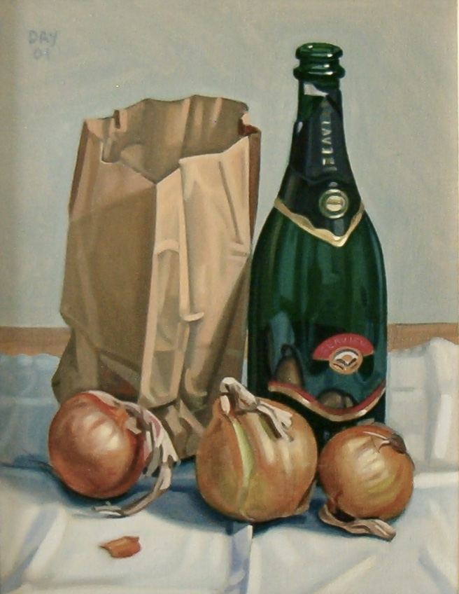 Still Life with Bottle, Bag and Onions