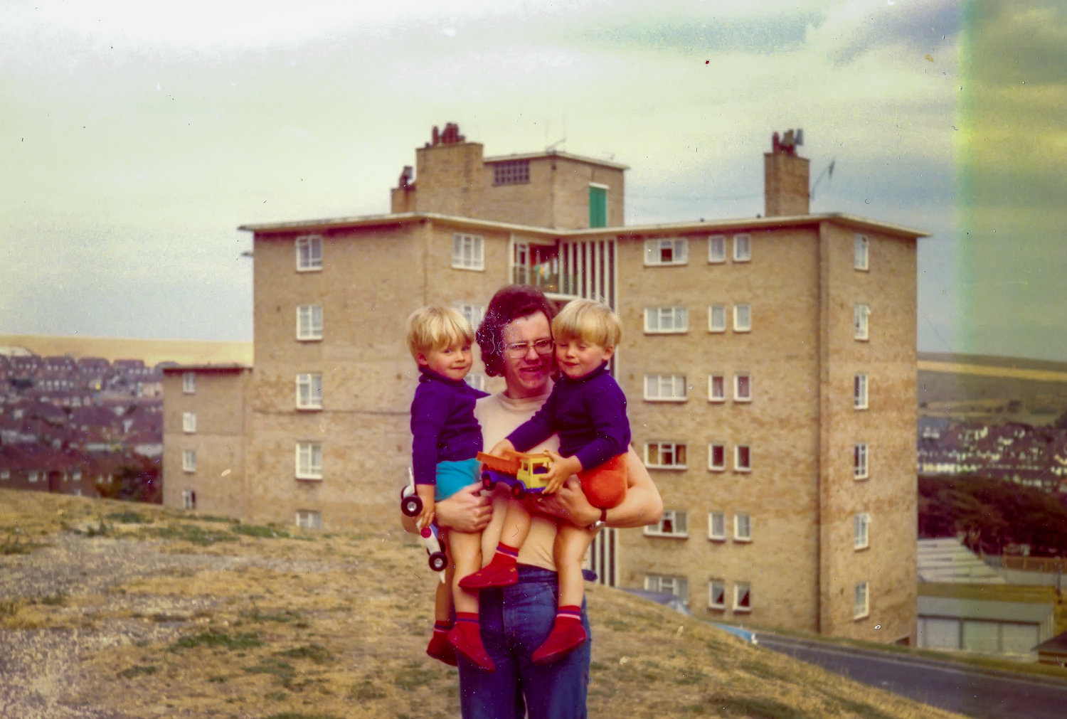 Me, my twin and dad on the Bristol Estate around 1979