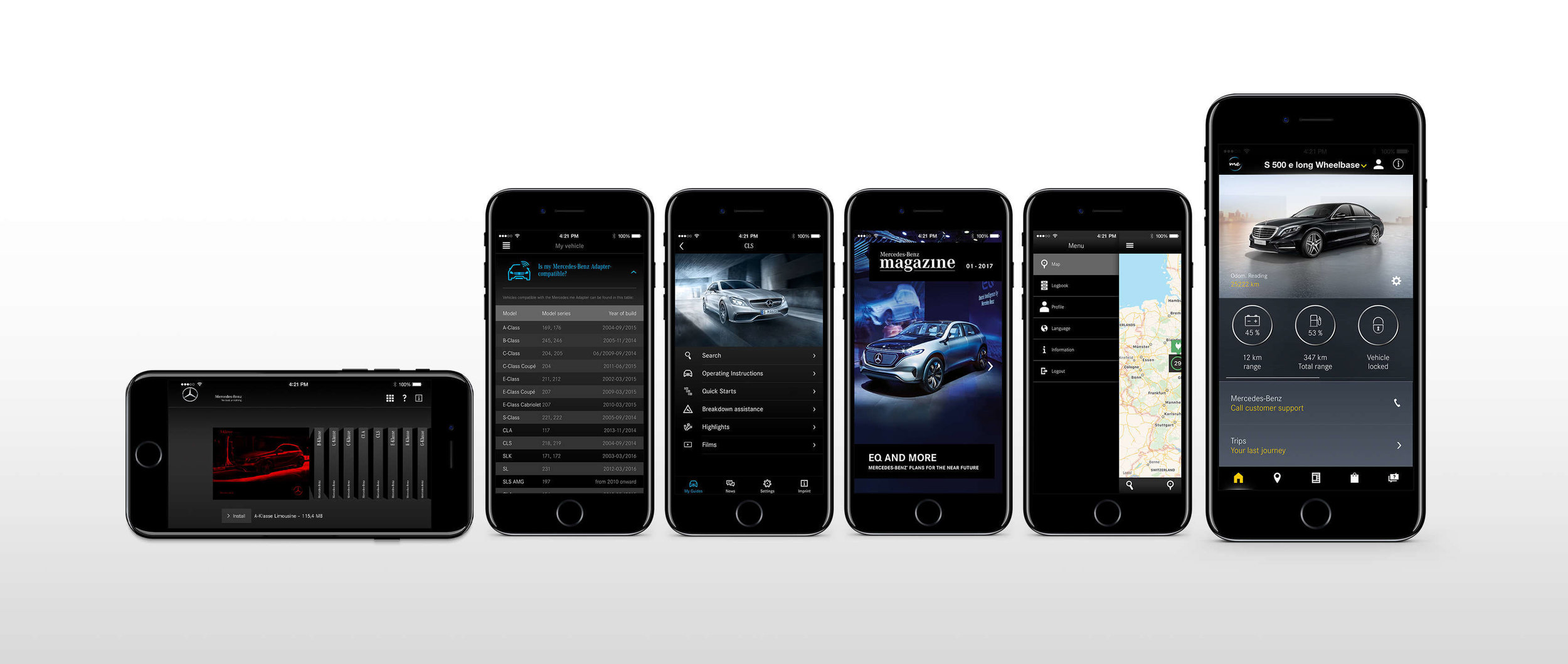 Mercedes' current suite of apps share little design with their in-car siblings, a missed opportunity to create a seamless end-to-end experience