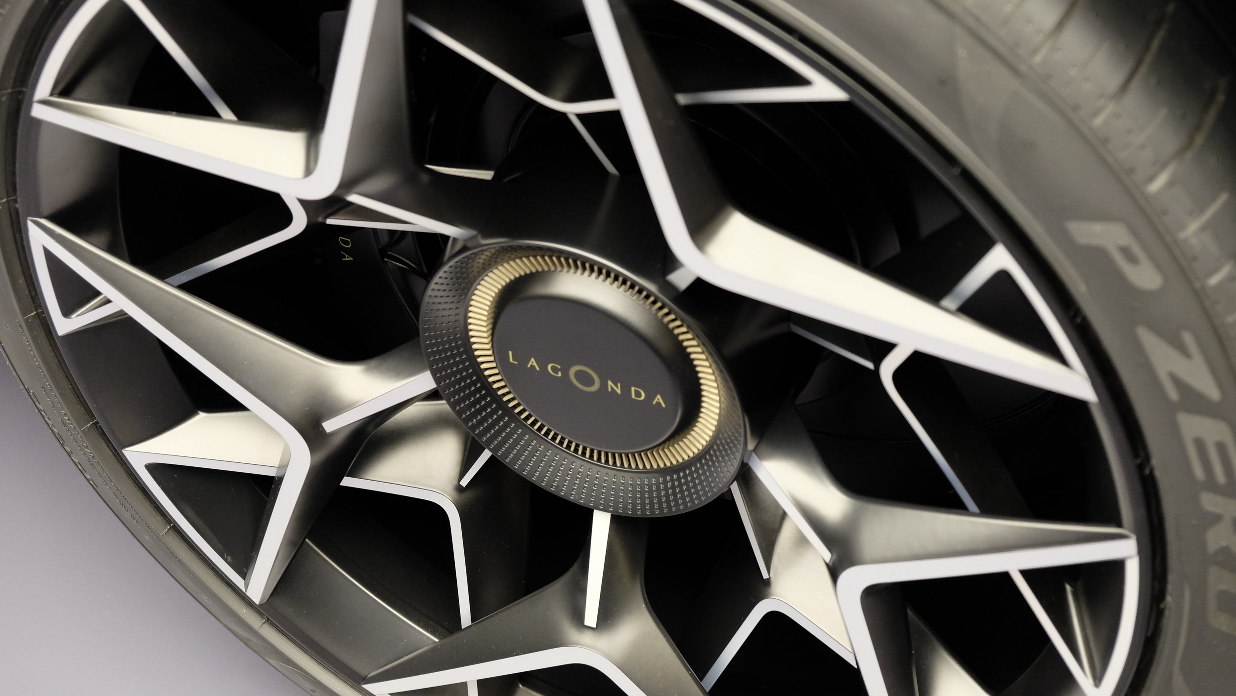 An intricate play of spokes and colors, the Lagonda All-Terrain wheels are a statement of luxury intent