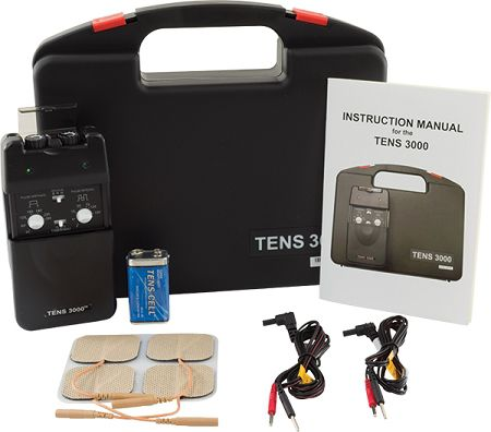 TENS machine for pain relief and muscle spasms.