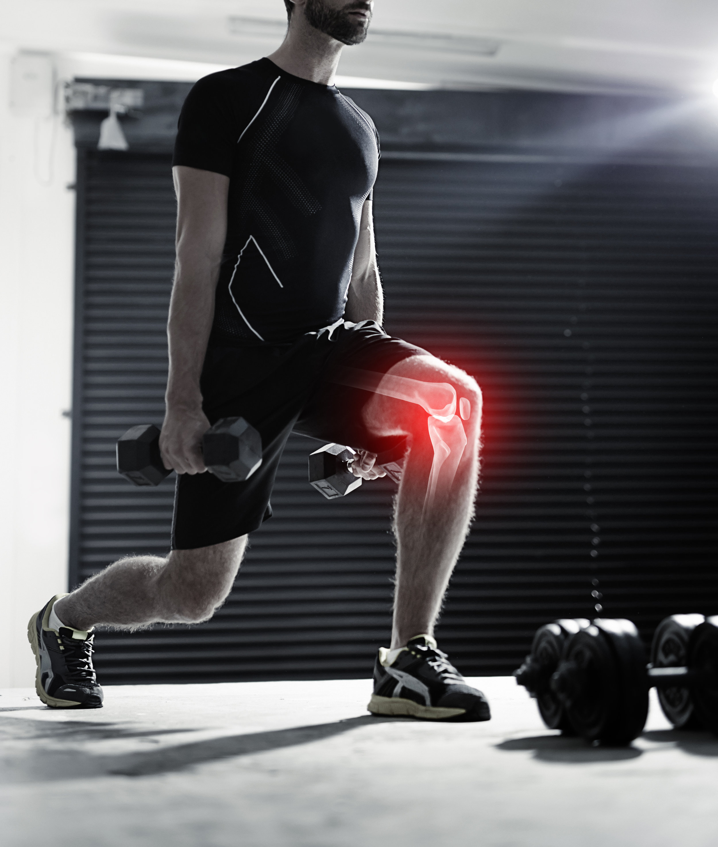 Chiropractic patient with sports injury and knee pain