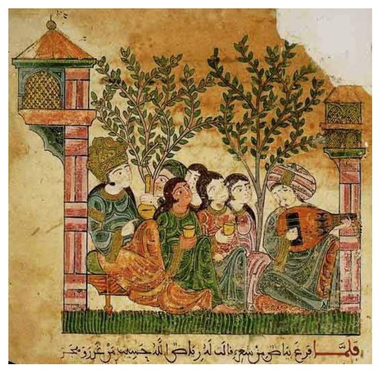 Canción de laúd en un jardín para una dama noble. España, Siglo XII, Biblioteca del Vatican