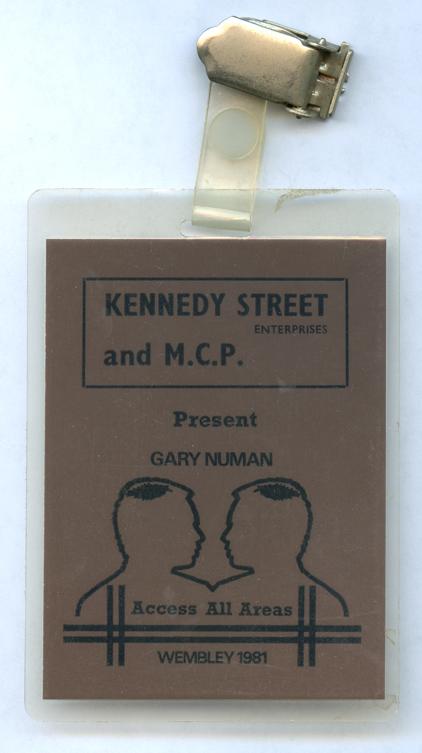 Backstage pass to Gary Numan's 3-night 'farewell' shows at Wembly Arena, where Nash played as a guest musician in Numan's band, 1981.