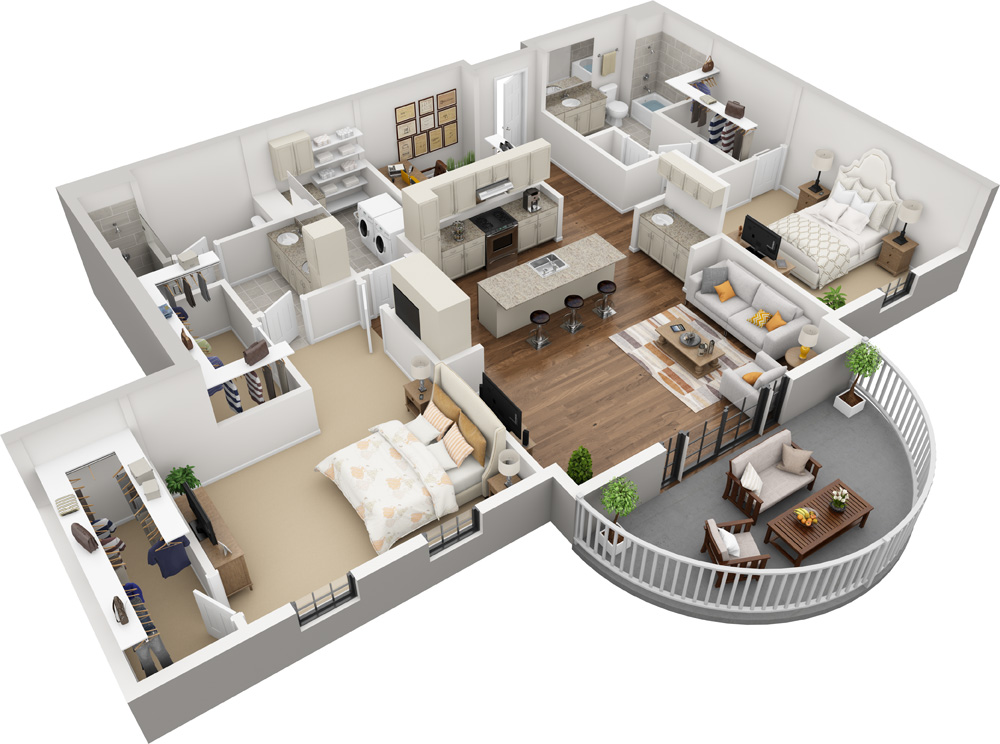 Unit A - 2 Bed | 2 Bath1500-1731 Sq. Ft. | Starting at $2,725.00