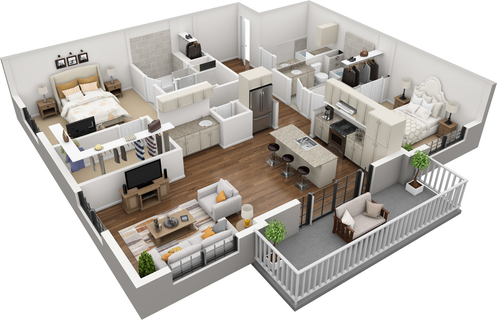 Unit D - 2 Bed | 2 Bath1459-1588 Sq. Ft. | Starting at $2,440.00
