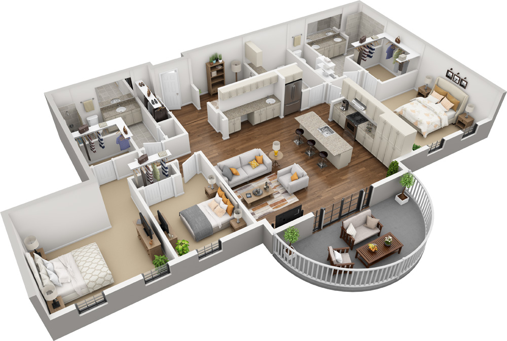 Unit B - 3 Bed | 2 Bath1698-2000 Sq. Ft.Starting at $3,880.00