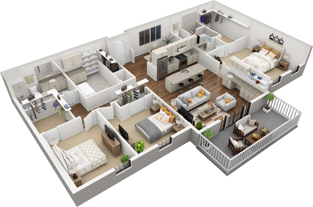 Unit E - 3 Bed | 2 Bath1869-2100 Sq. Ft.Starting at $2,990.00