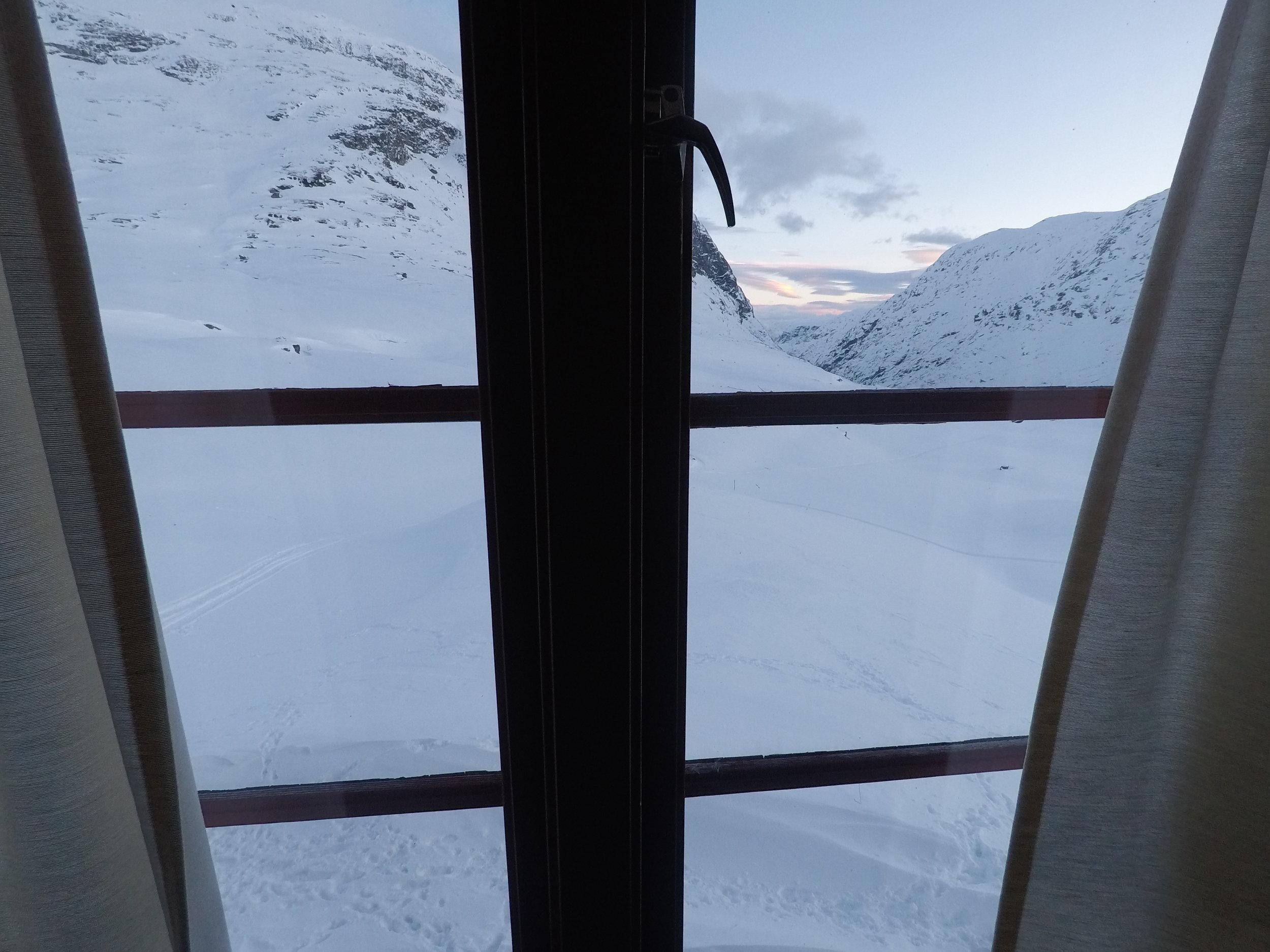 Utsikten fra sovesalen på Nørstedalsseter