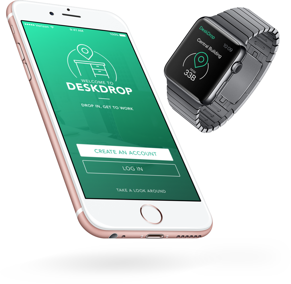 Deskdrop for IOS - DeskDrop is a newand upcoming application for iOS (and Android) that provides visiting employees, freelancers, contractors and anyone else the ability to quickly find an appropriate desk – or workspace – depending on their needs, such as equipment or length of stay.