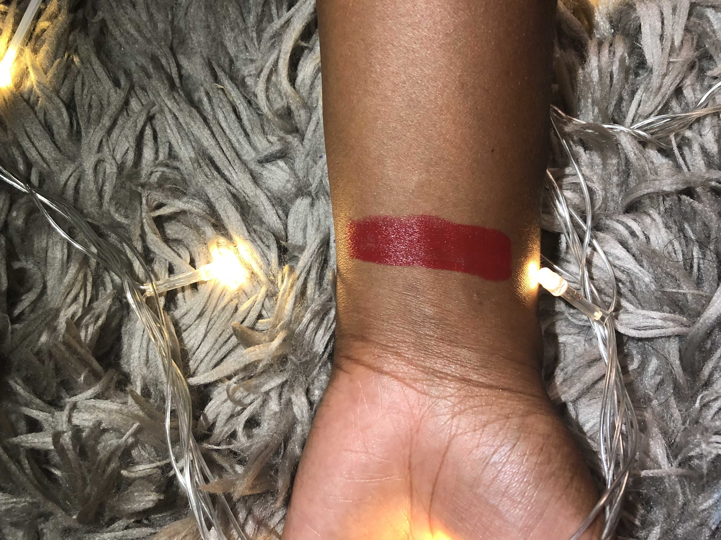 Iman Lipstick swatch on my skin