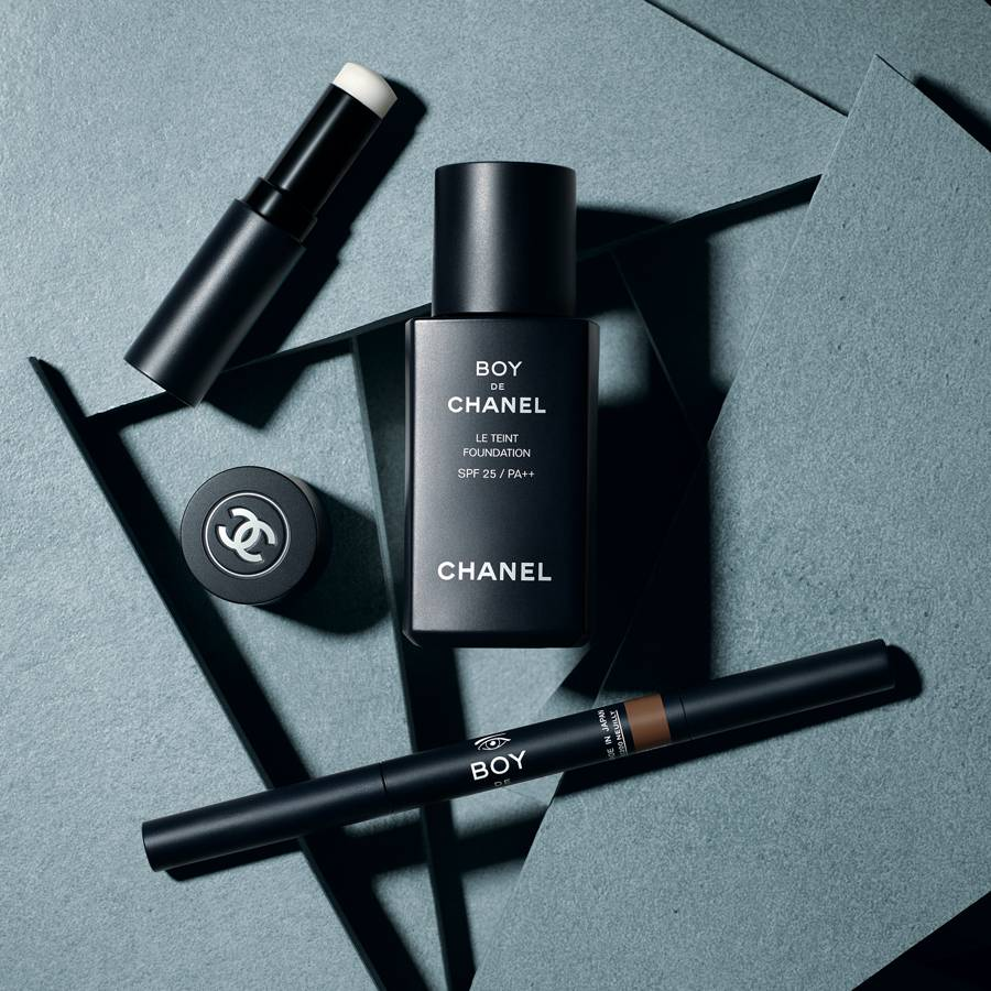 Foundation, brow and lip balm from Boy de Chanel. Courtesy of Chanel.com