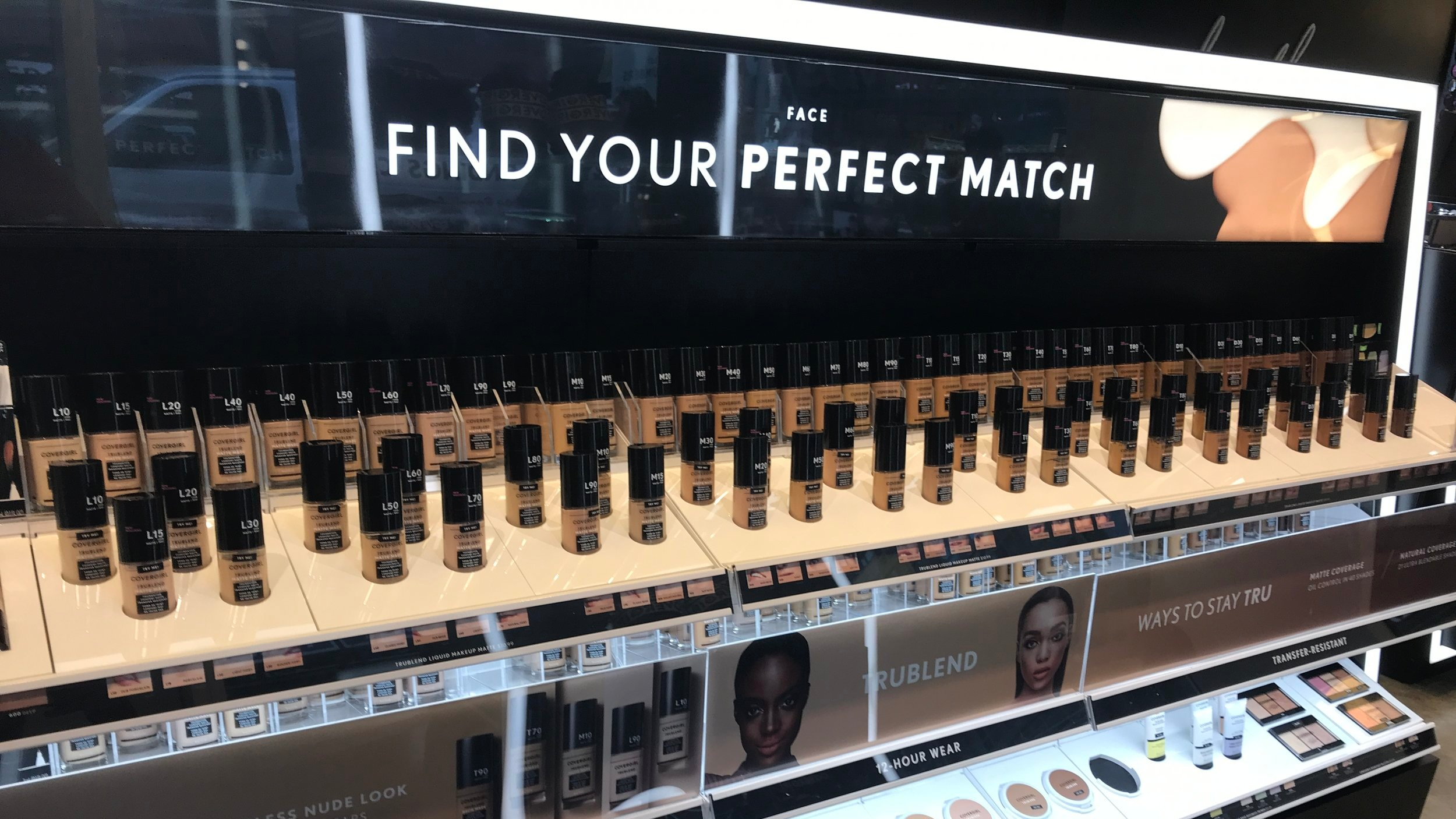 COVERGIRL's display of the TruBlend Matte Made foundation that comes in 40 shades.