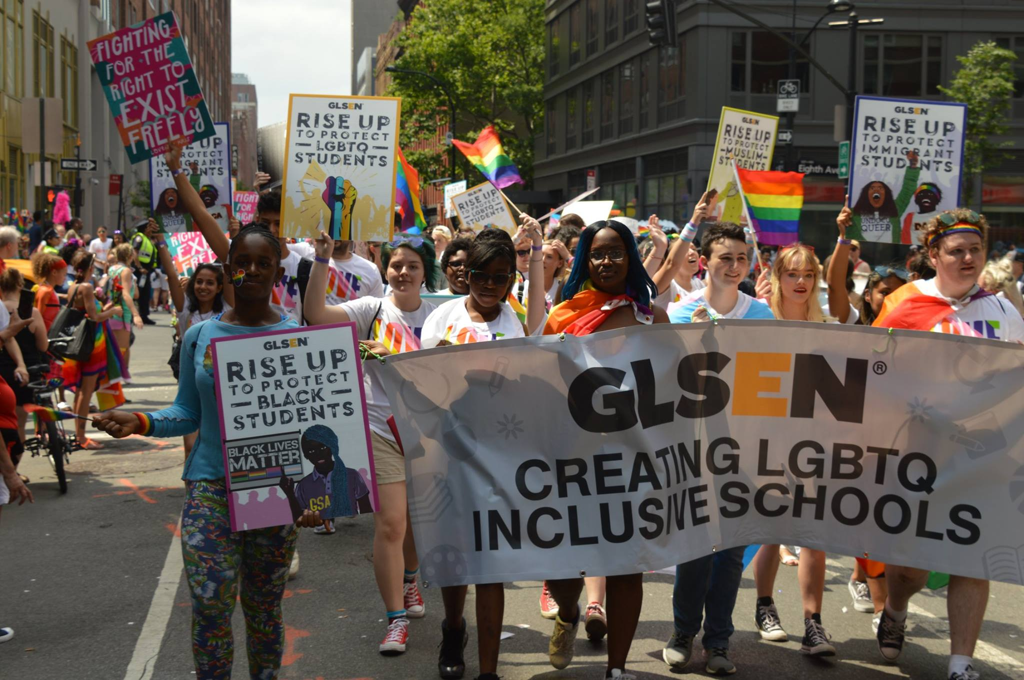 GLSEN with a banner at a Pride parade.
