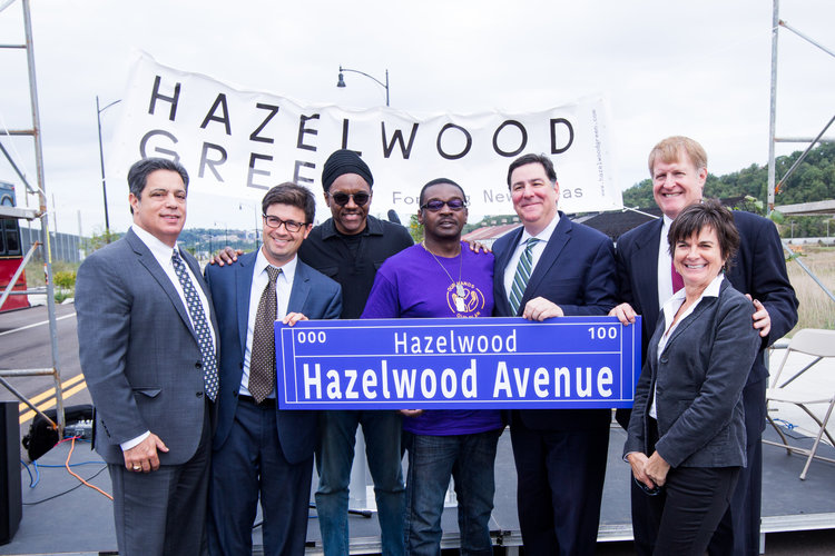 Pictured left to right: State Senator Jay Costa,Councilman Corey O'Connor,Reverend Tim Smith,George Thomas,Mayor Bill Peduto,County Executive Rich Fitzgerald, and Rebecca Flora.