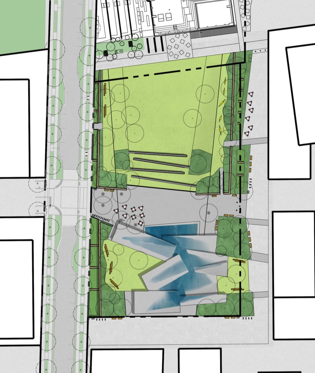Illustrative site plan of the Plaza by Gustafson Guthrie Nichol (GGN), May 2019.