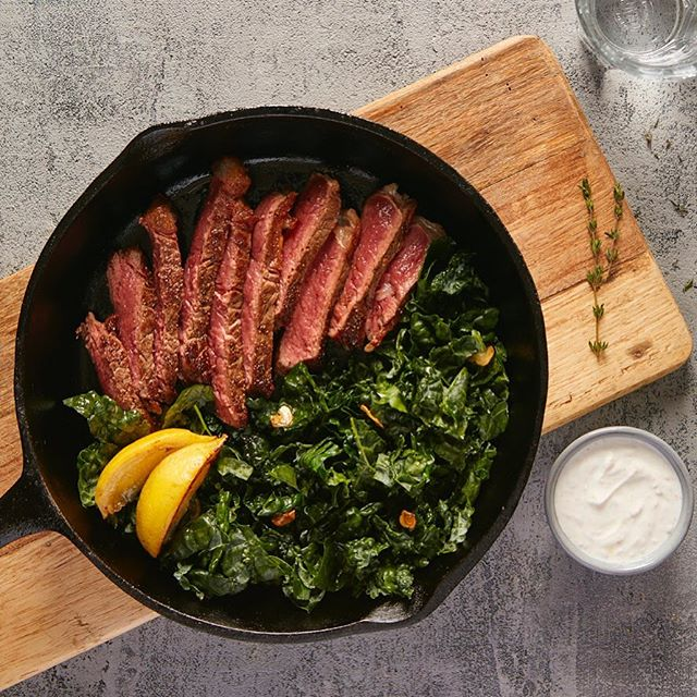 Seared Steak with Sautéed Kale and Horseradish Cream for The Hashimoto's AIP Cookbook #steak #kale #horseradish #lemon #thehashimotosaipcookbook #cookbook #callistomedia #foodstylist #foodphotography #foodstyling 📷 @eviabeler