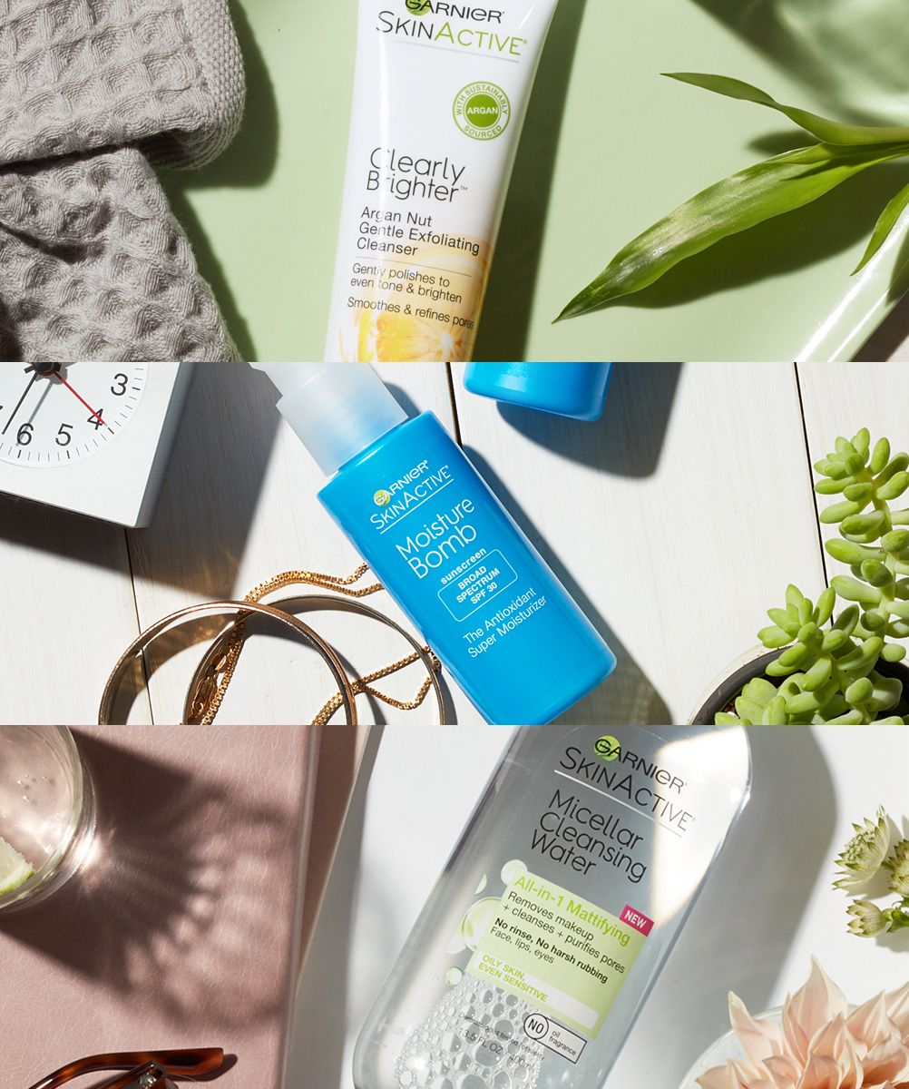 GARNIER'S FIRST CROSS CATEGORY SHOOT - Each flatlay utilized simple storytelling and brightly sunlit organic layouts to convey the specific benefits and use of the SkinActive product range.