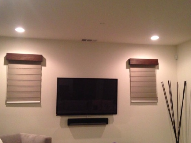 mounted tv and recessed lighting
