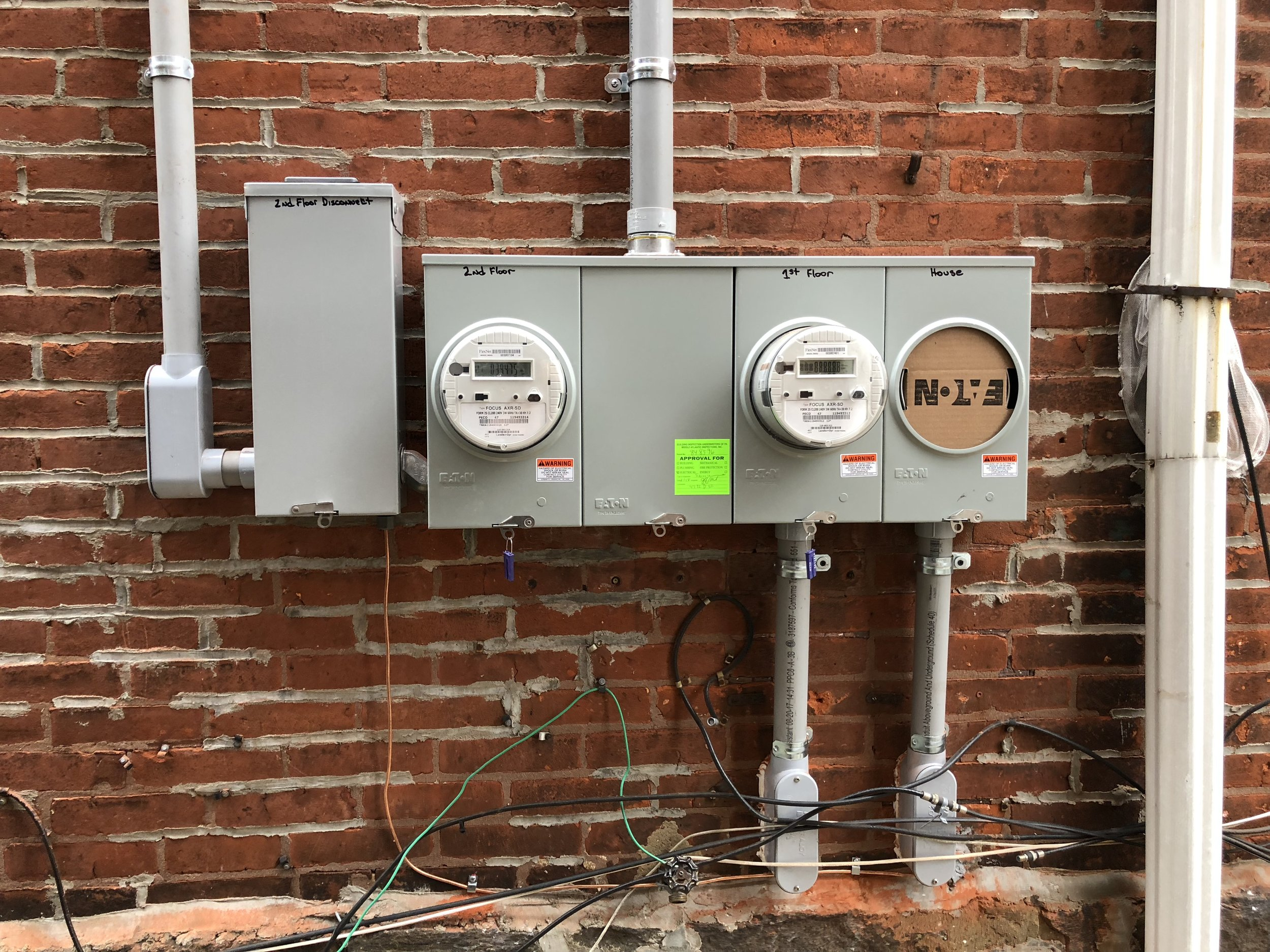 Three gang meter socket for a duplex with a disconnect and house panel