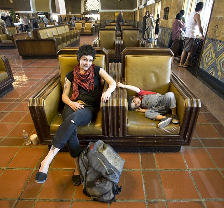 Sandy and daughter at Union Station, Los Angeles, California
