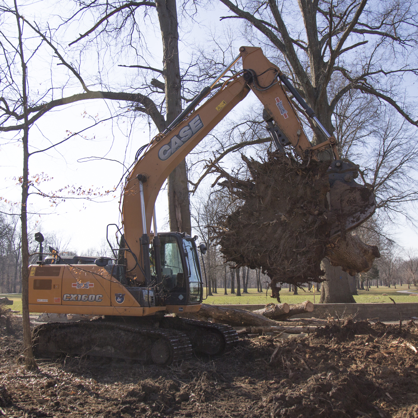 Excavators - Used for grubbing the ground to prepare for construction