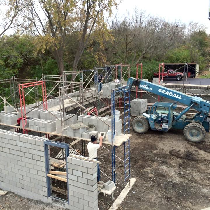 - Shop/truck garage is constructed at the Russell Tree Experts home office