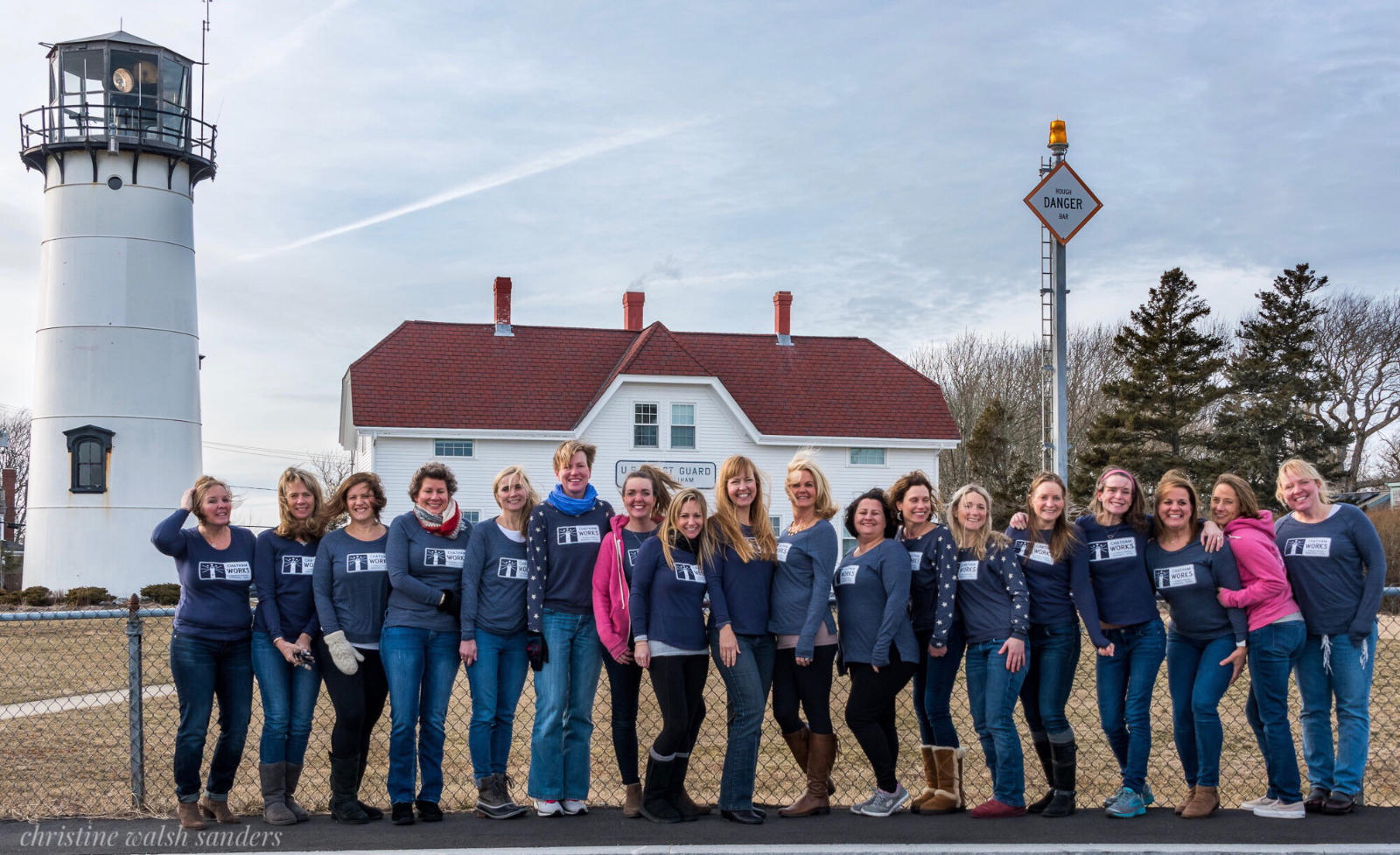 Some of our awesome Chatham Works influencers repping their CW gear at Chatham Light. Photo credit: Christine Walsh Sanders