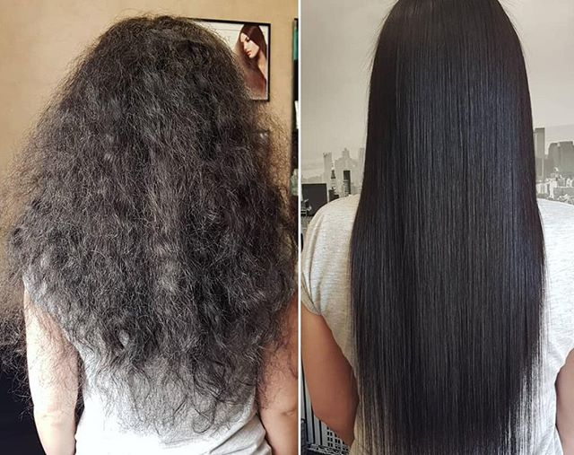 Holy #transformation #Batman! 😲Talk about taking the #frizz out of the equation! @keratin_khv27 used @trissola to take her client from distressed to #shinyhair perfection! ⠀ *⠀ *⠀ *⠀ #keratintreatment #keratinexpress #blowout #trissola  #keratin #longhair #stylists #curlyvsstraight #beautylaunchpad #behindthechair #licensedtocreate #coconut #shiny #longhair #hairenvy #hairgoals #goals #longhairdontcare  #salonprofessional #smoothing #hairarrange #hairstyles #hairart #beautyblogger #beforeandafter #transformation