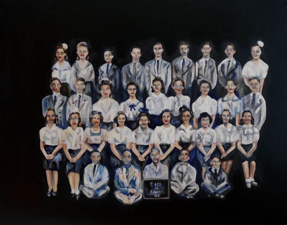 'Class of 1945' oil on linen, 22x28 in