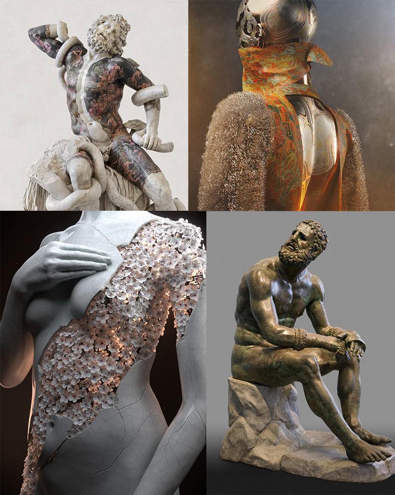 Moodboard references from:   http://www.fabioviale.it/  - bottom left  https://jmbihorel.myportfolio.com/  - top left The Boxer at Rest (ancient greek sculpture) - bottom right  https://www.instagram.com/rawandrendered/  - top right