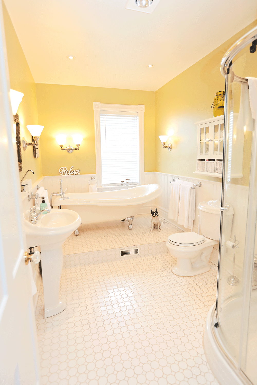 bathroom escape - At the end of a busy day, escape into the glorious full bathroom, complete with a clawfoot tub, and views of the Beaver Valley. A shower stall is also available. There is a second 2 piece bathroom located in the mudroom.