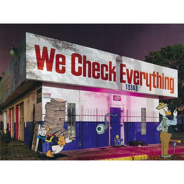 "'The Checkers', 2019, paper collage by @durant.collage using a page from ""A DETROIT NOCTURNE"" by @dave.jordano"