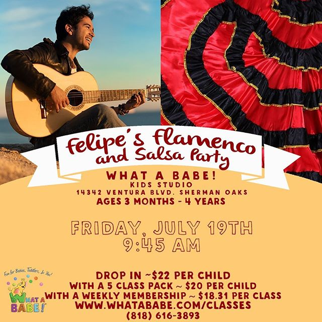 New pop up class next Friday! 🍾 Felipe plays the hot and gorgeous sounds of flamenco and salsa in this sweet class designed just for the littlest ears and tiniest dancers. All of the music will have latin roots, but this class is in English! #whatababe